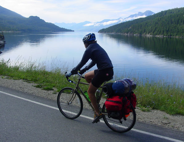 Cycling by Kootenay Lake