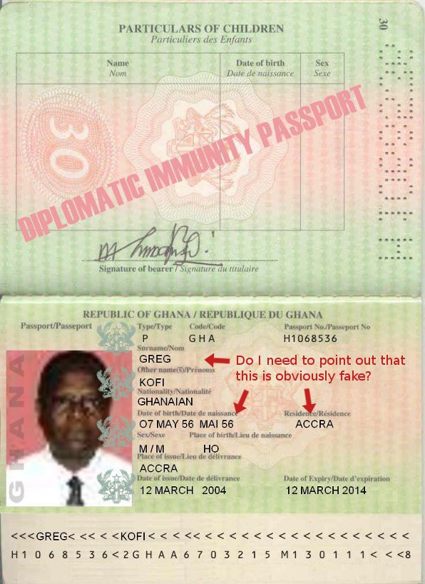 Greg Kofi's Fake Ghanaian Passport