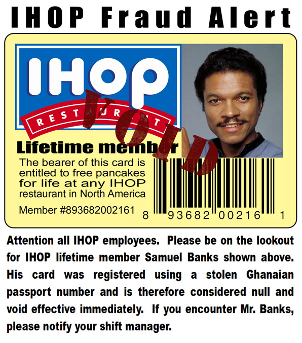 IHOP Fake Fraud Notice