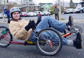 Matthew rides the Hotmover in the Santa Claus Parade