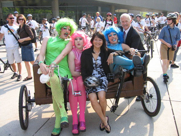 B-Girlz on the Couchbike with Olivia Chow and Jack Layton
