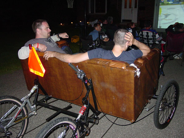 Watching hockey on the Couchbike