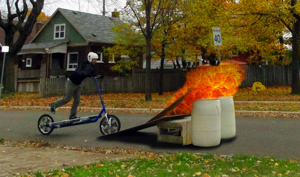 Treadmill Bike Jumping Flaming Barrels