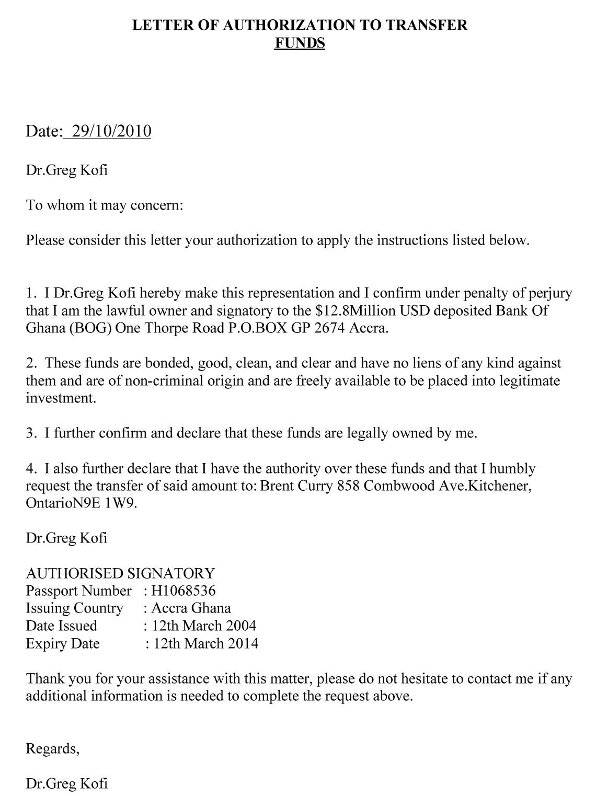 Letter of Authorization from Dr. Greg Kofi