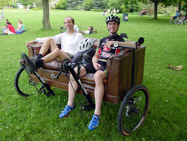 Mohrgan and Andy on the Couchbike
