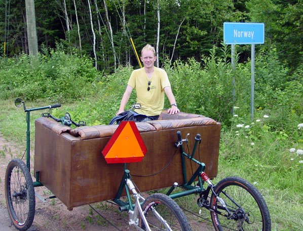 Couchbike by the Norway sign