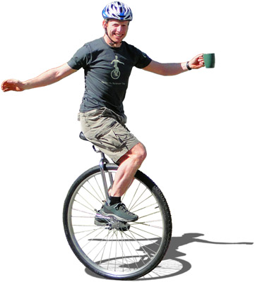 Drinking perfectly balanced tea on a unicycle