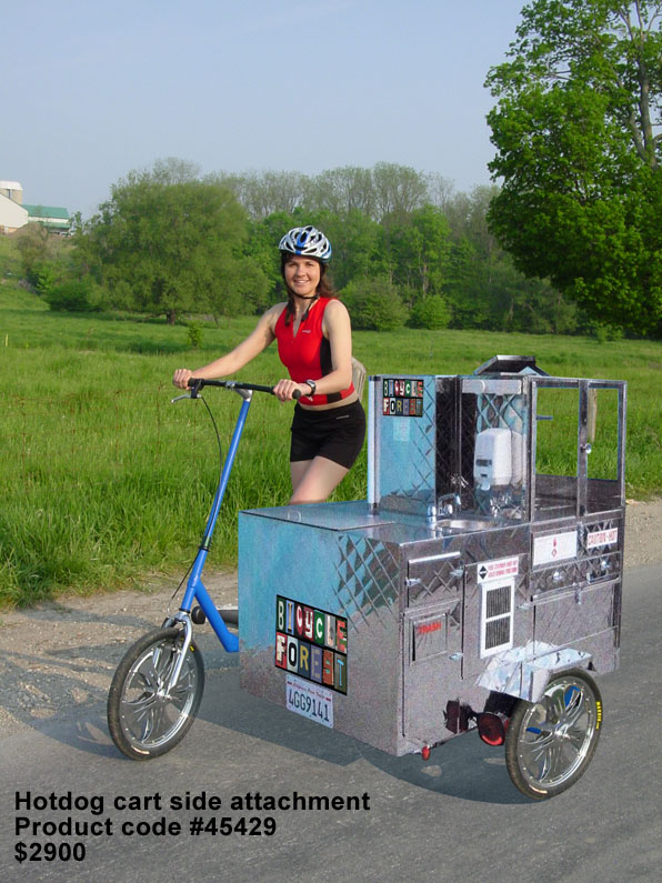 Treadmill Bike with Hot Dog Vending Cart Attachment