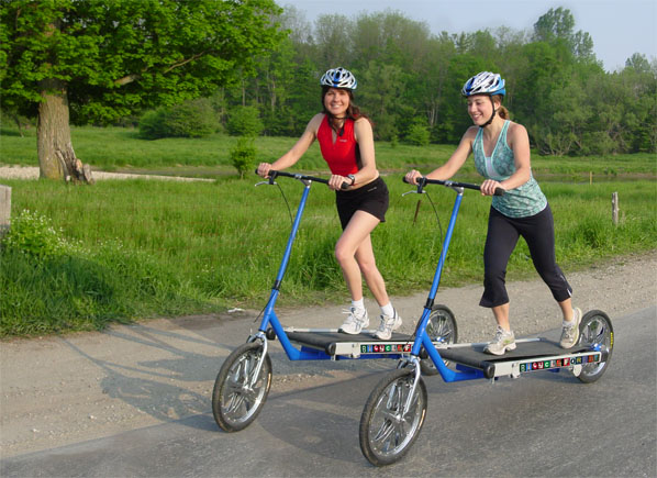 Sara and Natasha model the revolutionary Treadmill Bike