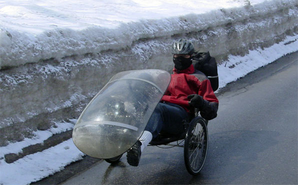 Recumbent trike in the winter