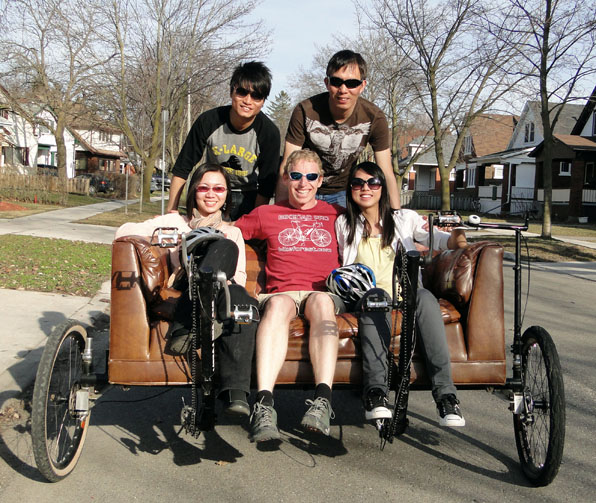 Team from Timeline Magazine on the Couchbike